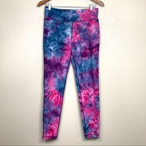 Vogo Workout Leggings in Pink Blue Tie-Dye Pattern